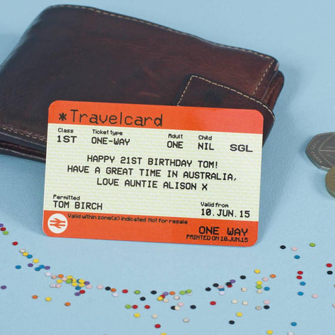 Personalised Metal 'Train Ticket' Wallet Note Card - Oakdene Designs