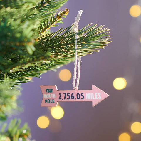 Personalised Miles To North Pole Christmas Decoration