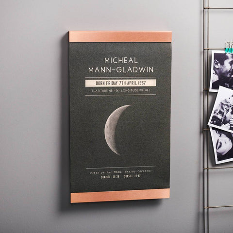 Personalised Moon Phase Copper And Canvas Print