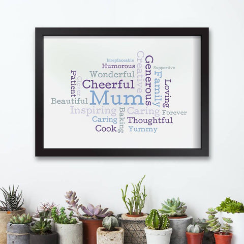 Personalised Mother's Day Typographic Word Cloud Print