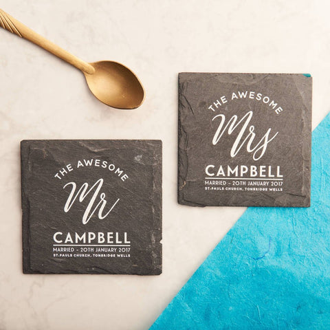 Personalised 'Mr And Mrs' Slate Coasters