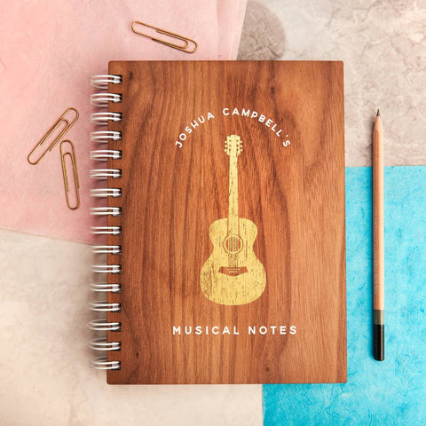 Personalised 'Musical Notes' Gold Walnut Notebook