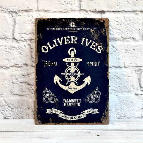 Personalised Nautical Metal Sign