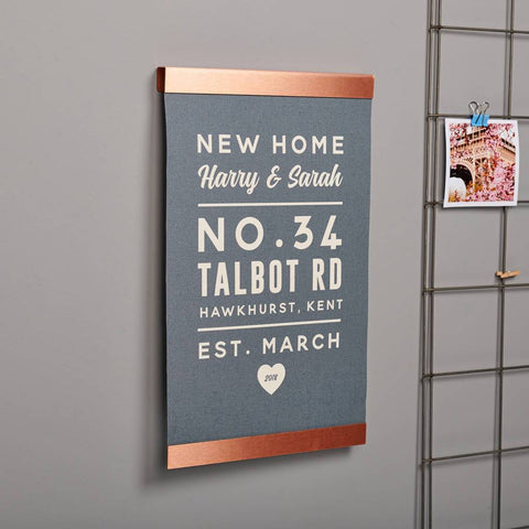 Personalised New Home Copper And Canvas Print