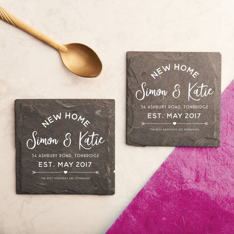 Personalised 'New Home' Slate Coasters