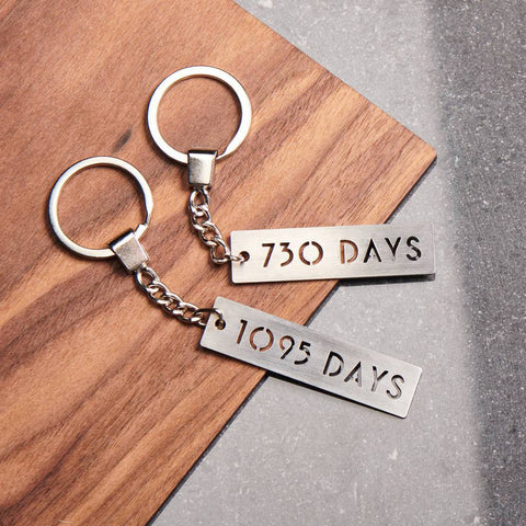 Personalised Number Of Days Metal Keyring