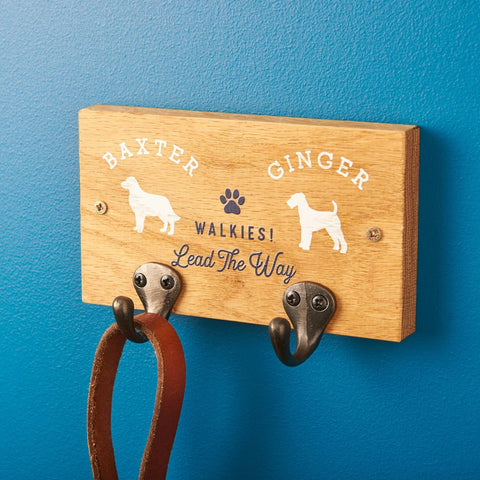 Personalised Oak Pet Lead Holder