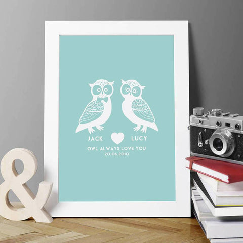 Personalised 'Owl Always Love You' Couples Print - Oakdene Designs - 1