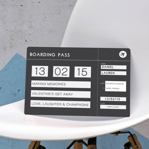 Personalised Plane Boarding Pass Ticket Plaque