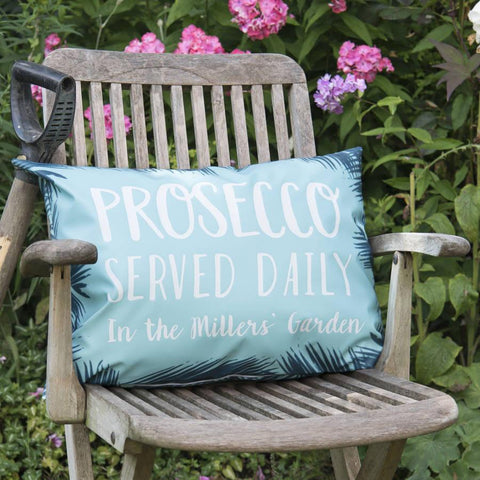 Personalised 'Prosecco Served Daily' Outdoor Cushion