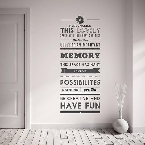 Personalised quote wall sticker oakdene designs 1