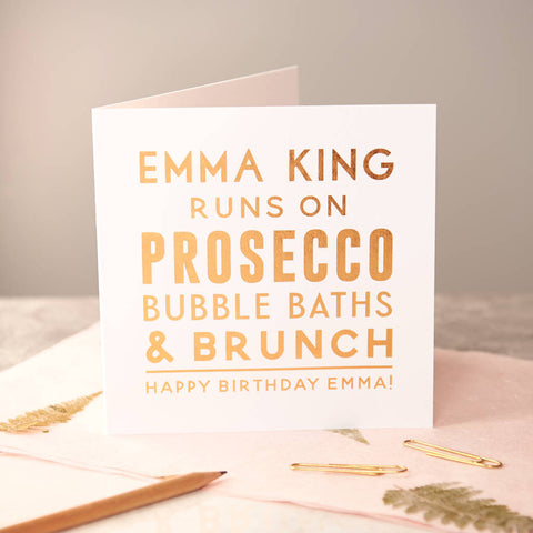 Personalised 'Runs On' Copper Foiled Birthday Card