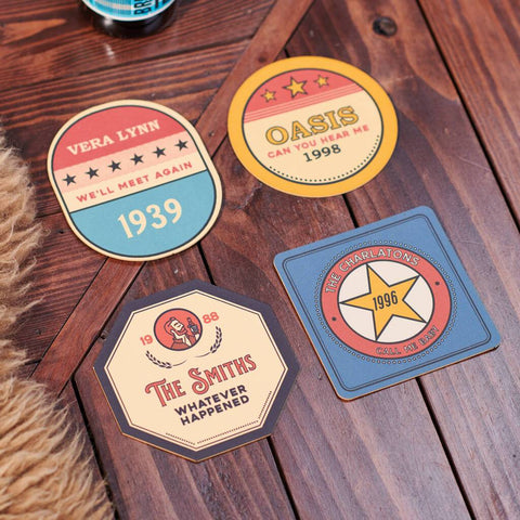 Personalised Set Of Four Favourite Song Beer Mats