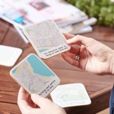 Personalised Set Of Four Map Location Coasters