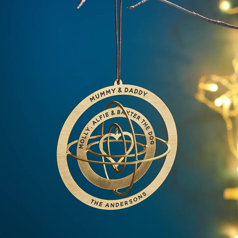 Personalised Solid Brass Globe Christmas Decoration