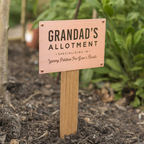 Personalised Solid Copper And Oak Allotment Sign