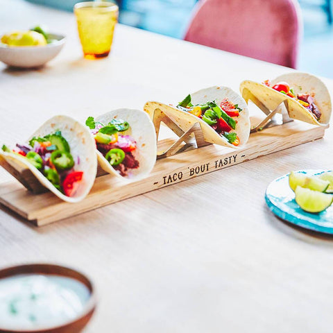 Personalised Solid Oak Taco Tray