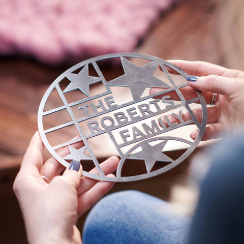 Personalised Stainless Steel Family Star Trivet Stand
