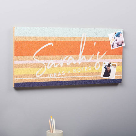 Personalised Striped Cork Pin Board