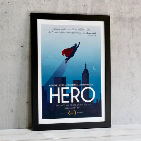 Personalised 'Superdad' Movie Poster Print - Oakdene Designs - 1