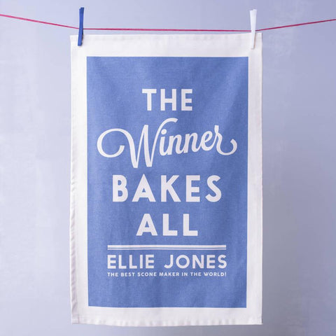 Personalised The Winner Bakes All Tea Towel