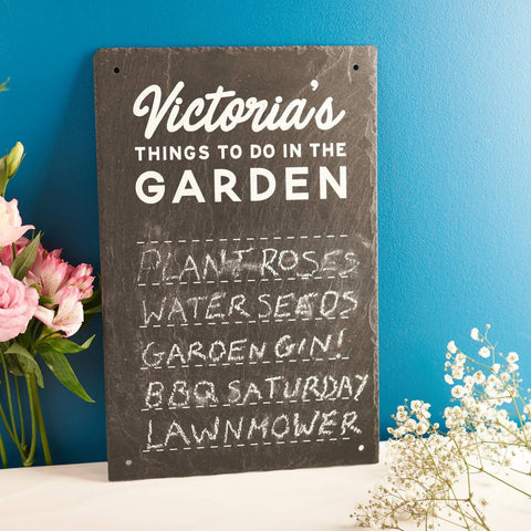 Personalised 'Things To Do In The Garden' Slate Sign