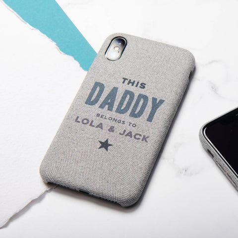 Personalised This Daddy Belongs To Fabric iPhone Case