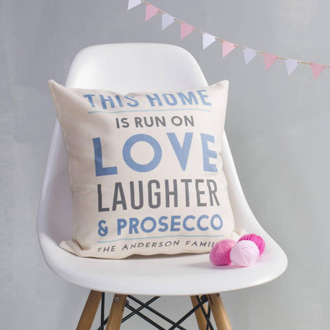 Personalised This Home Is Run On Cushion - Oakdene Designs - 1