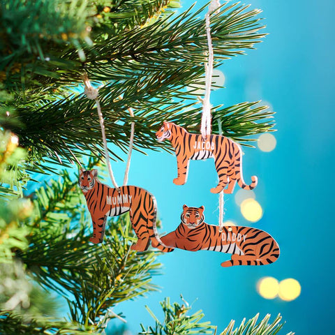 Personalised Tiger Family Christmas Hanging Decorations