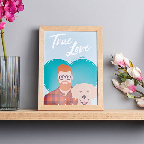 Personalised 'True Love' Dog And Owner Portrait Print