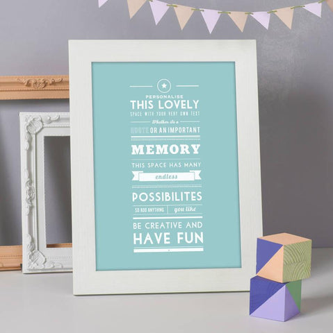 Personalised Typographic Quote Print