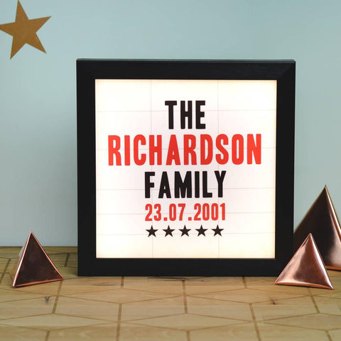 Personalised Vintage Family Cinema Light Box - Oakdene Designs - 1