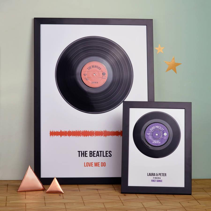 Personalised Vinyl Record Framed Song Print | oakdenedesigns.com