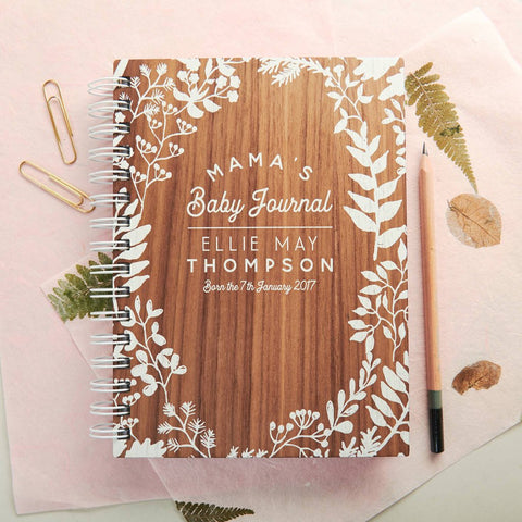 Personalised Walnut Baby Journal