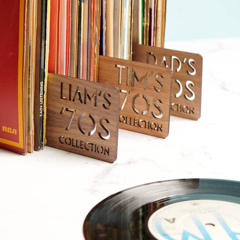 Personalised Walnut Record Dividers