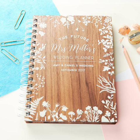 Personalised Walnut Wedding Notebook Planner