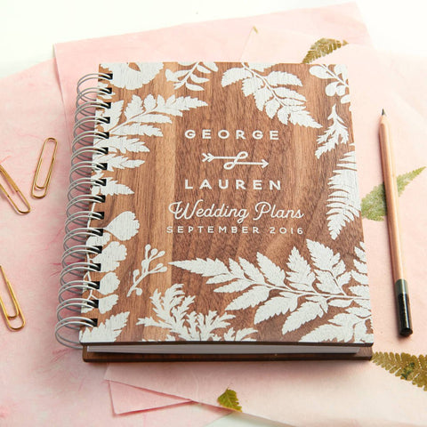 Personalised Walnut Wedding Planner Oakdenedesigns Com
