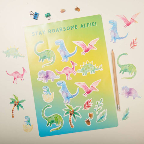 Personalised Watercolour Dinosaur Sticker Set