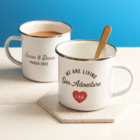 Personalised 'We Are Living Our Adventure' Enamel Mug