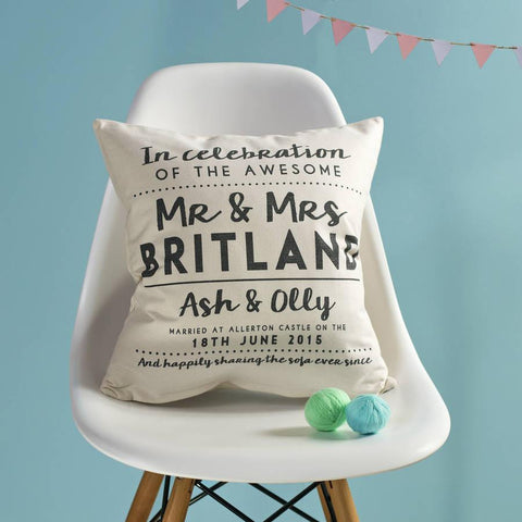 Personalised Wedding Couple Cushion - Oakdene Designs - 1