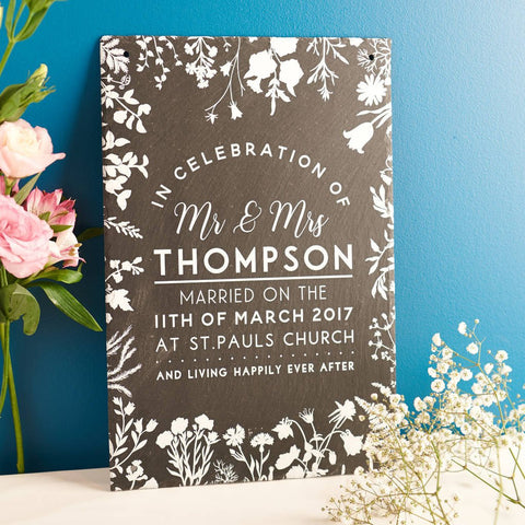 Personalised Wedding Details Slate Sign