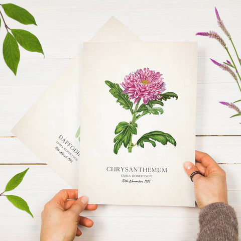 Personalised Wild Flower Birth Date Print