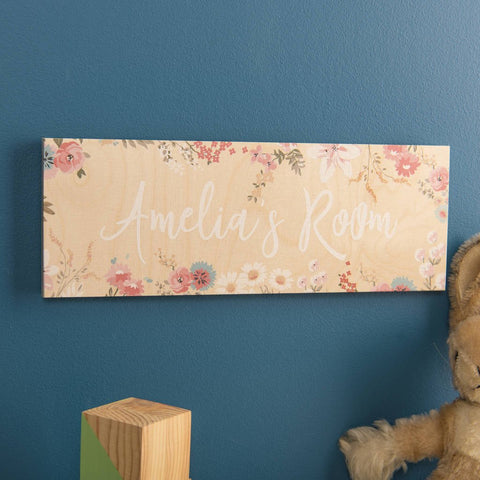 Personalised Wooden Floral Room Name Sign