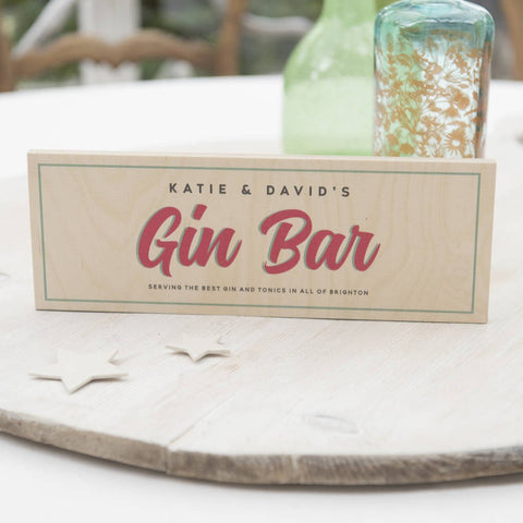 Personalised Wooden Gin Bar Sign