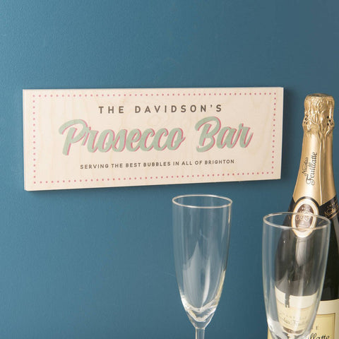 Personalised Wooden Prosecco Bar Sign