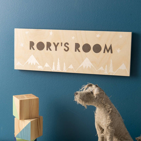 Personalised Wooden Scandinavian Style Room Name Sign