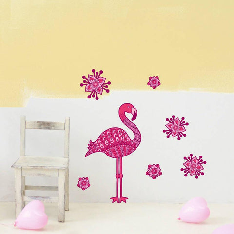Pink Flamingo And Flowers Wall Sticker Set