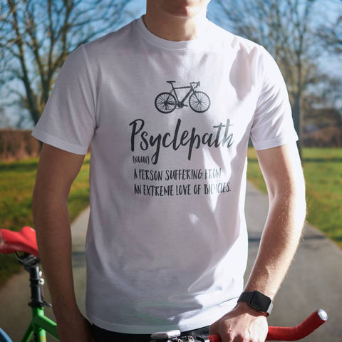 'Psyclepath' Men's Cycling White T Shirt