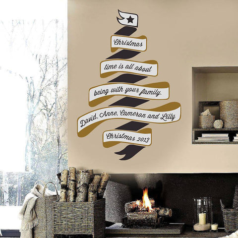 Personalised Christmas Tree Wall Sticker - Oakdene Designs