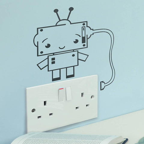 Robot Plug Socket Vinyl Wall Sticker - Oakdene Designs - 1